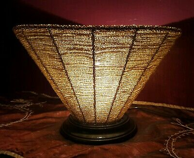 Amber Beaded Torchiere Table -