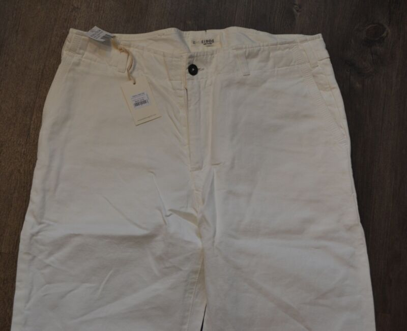 NWT EIDOS by ISAIA white casual pants cotton linen Italy 33