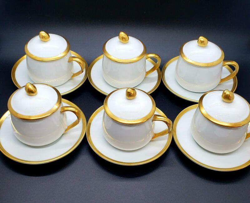 Fitz & Floyd Palais Pots De Creme Demitasse White Gold Rim Set of 6, 18 Pieces