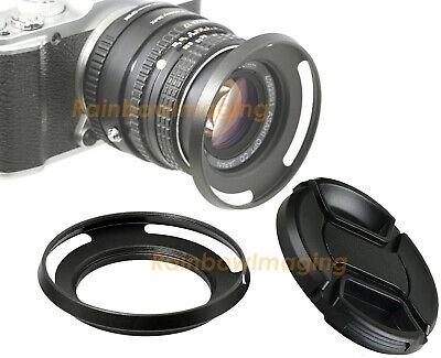 49mm Metal Slim Low Profile Curved Tilted Vented Wide Angle Lens Hood +Lense -