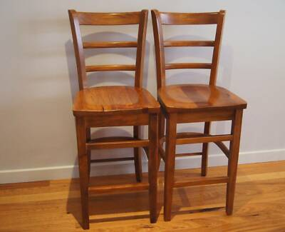 2 x Timber Bar Stools Flinders Shellharbour Area Preview