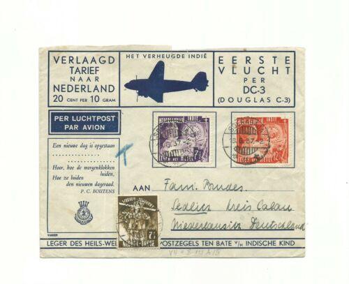 BK SCOUT 1937 NETHERLAND INDIES AIR MAIL COVER DC3 WORLD JAMBOREE STAMP DUTCH !!