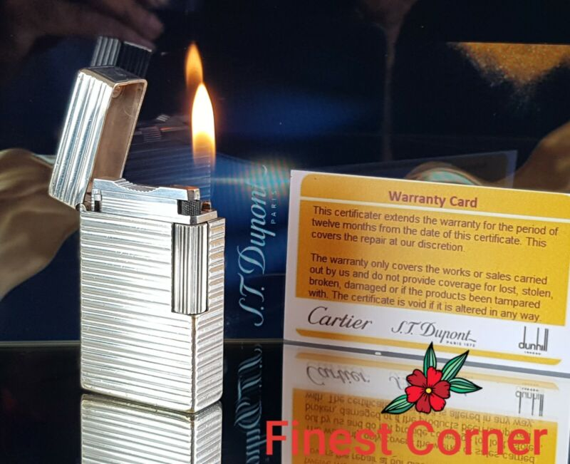 ST DuPont Lighter Line 1 Large BR Silver Function Serviced Warranty Good Con W1