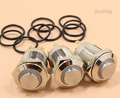 3pcs Led Metal Momentary Push Button Switch 4pin 12mm 3v Redgreenblue