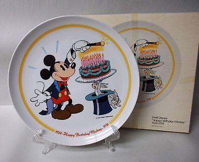 "Happy Birthday Mickey 1928-1978 Disney Plate by Schmid - 10-1/4"" - Original Box"