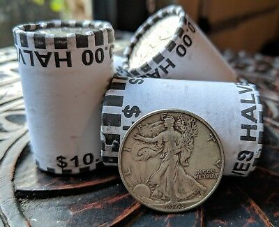 ONE UNSEARCHED HALF DOLLAR BANK ROLL - ONE 90% SILVER WALKING LIBERTY COIN