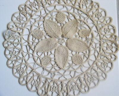 Beautiful 2 Hand Crochet Doilies Beige Nice Floral Design 11 in.Diameter ExcCond