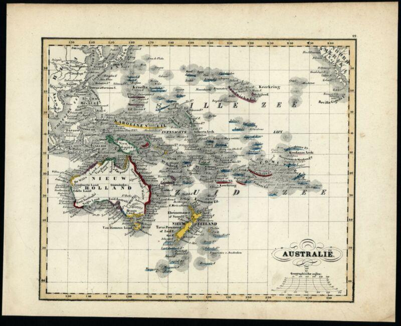 Australia New Holland Zealand Oceania 1840-45 Baedeker Petri scarce Dutch map