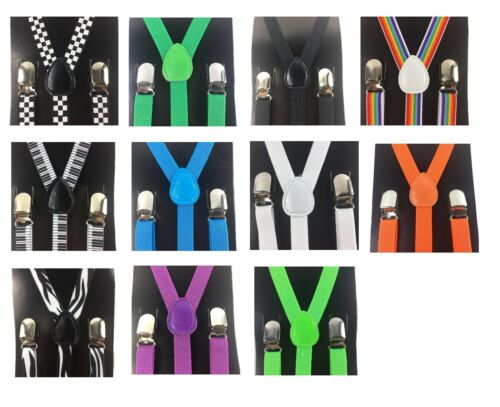 "1x Mens Womens Clip-on 0.5"" Thin Skinny Suspenders Elastic Y-shape Suspender"