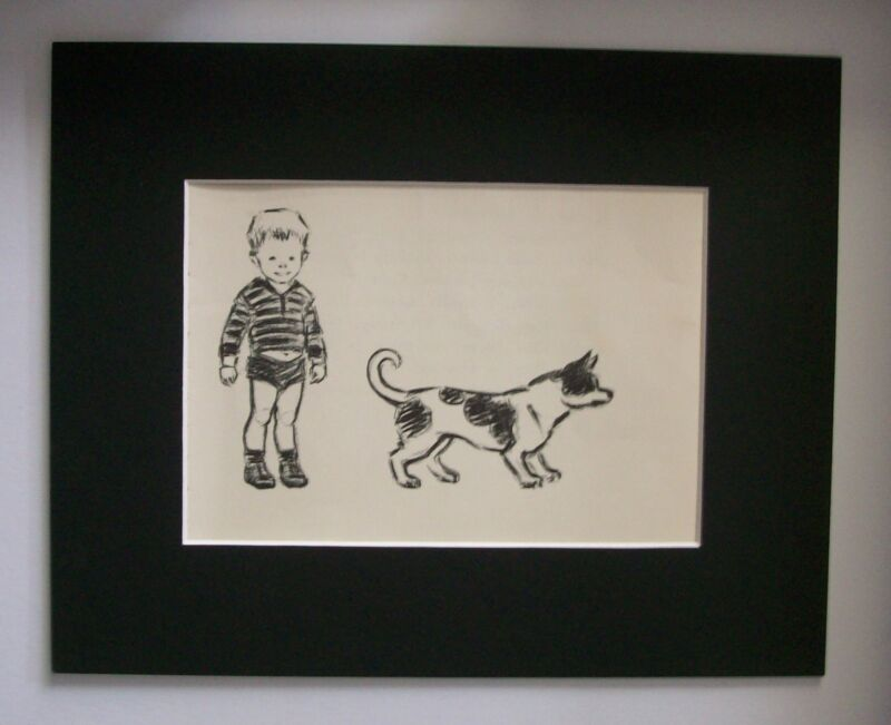 Dog Print Clare Newberry Little Boy Small Black White Mutt Bookplate 1961 Matted