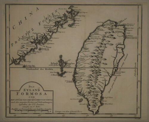 1730 Genuine Antique Map Eyland Formosa, China, by J.N. Bellin
