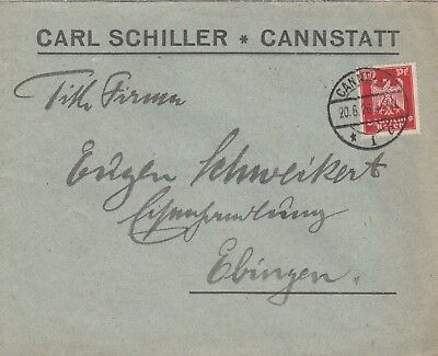 CANNSTATT, Briefumschlag 1926, Carl Schiller