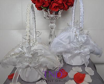 WEDDING CEREMONY SATIN FLOWER GIRL BASKET W/ ...