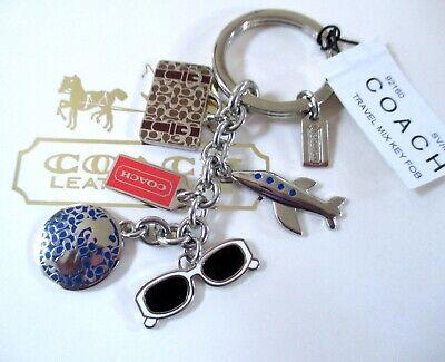 NWT Coach Travel Mix World Suitcase Airplane Key Fob Keychain Charm  Mix Key Fob