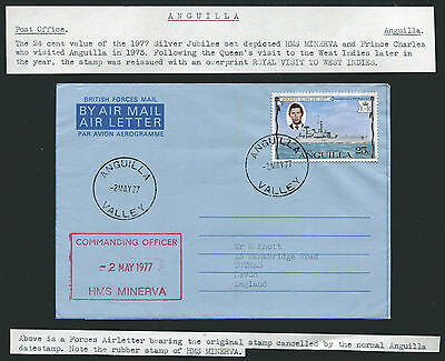 ANGUILLA: (12865) HMS MINERVA cancel/Forces Air Letter