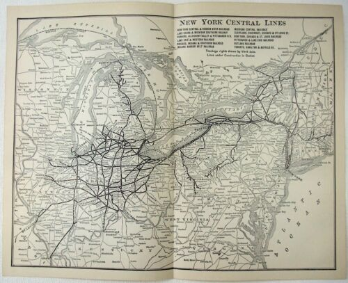 New York Central Lines Railroad - Original 1907 Dated Route Map.