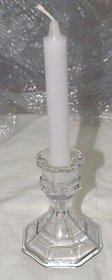 1-Candle Stick Holder-Clear Glass For Tapers & Emergency Can