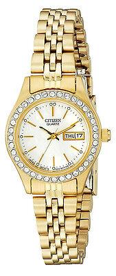 Citizen EQ0532-55D Women's Gold Tone Swarovski MOP Dial Day Date Watch