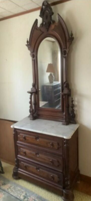 Victorian Mahogany & Marble Top Carved  Ladies Dresser W/ Mirror. Magnificent..
