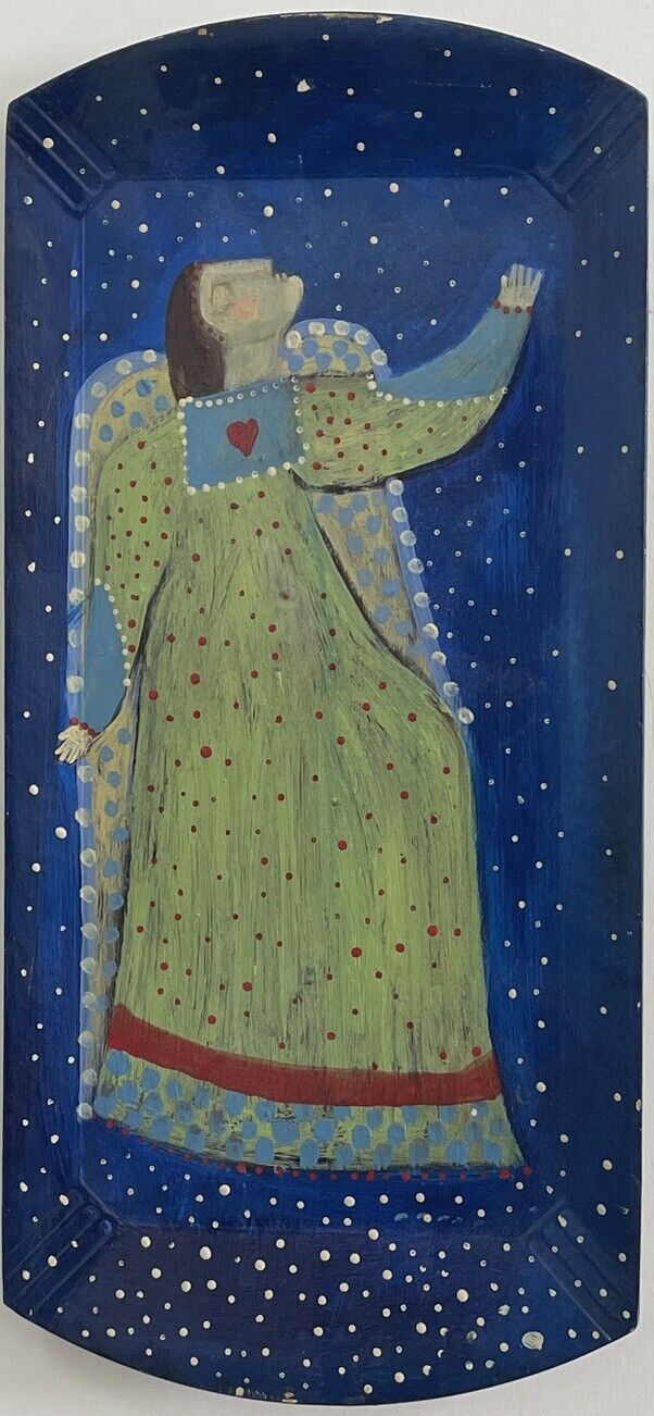 Rose Walton Adoring Angel 4/8 2003 Signed Acrylic Folk Art - $200.00