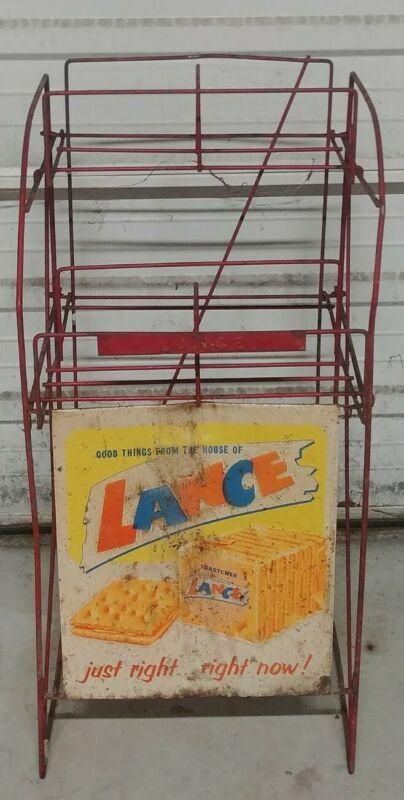 Vintage Original Lance 4 Jar Metal Snack Rack Country Store Display Rack & Sign