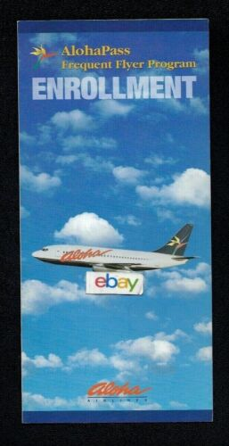 ALOHA AIRLINES ALOHA PASS FREQUENT FLYER PROGRAM ENROLLMENT 1991 737-200