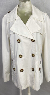 Michael Kors Womens White Belted Trench Coat Size Large Button Up Jacket EUC