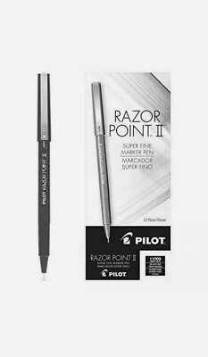 Pilot Razor Point Ii 11009 Black 0.2mm Super Fine Point Marker Pens 12 Pack