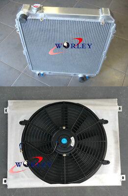Aluminum Radiator +shroud+fan for Toyota Hilux surf KZN130 1KZ-TE 3.0 TD 93-96