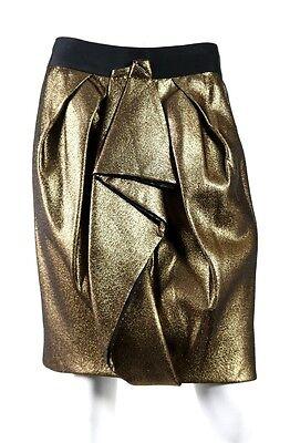 J. MENDEL $1,350 NWT Metallic Gold Sculptural Pleated Pencil Skirt 10