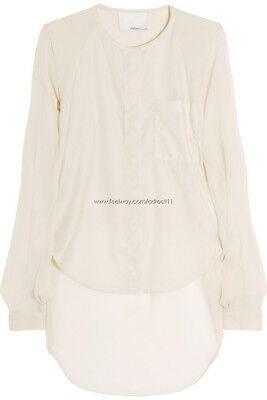 [3.1 Phillip Lim] Silk Shirt Crop Top Khaki Beige Color Size US4 / New with Tags