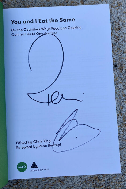 Rene Redzepi and Chris Ying Signed Book You and I Eat The Same
