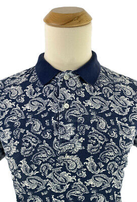 Vintage 90s Nautica Blue Withe Paisley Cotton Polo Shirt Mens Size Large