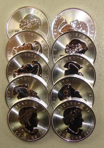 Lot of (10) 2020 1 oz Canadian Silver Maple Leaf Bullion Coins Gem Uncirculated