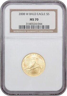 2008-W Bald Eagle $5 NGC MS70 - Modern Commemorative Gold - 1 oz Silver
