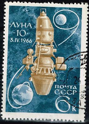 Russia Soviet Space Exploration Luna 10 on Moon stamp 1966