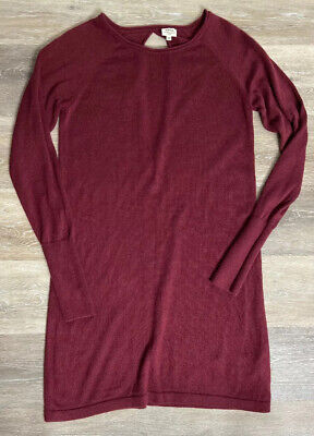 Wilfred Women's Sweater Dress Silk And Cashmere Burgundy XS Partial Open Back