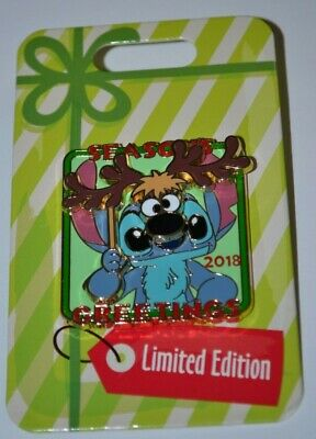 Disney Stitch W/Reindeer Mask Season's Greetings 2018 Christmas Pin Limited