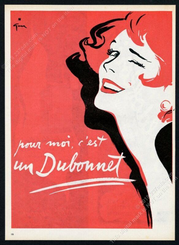 1954 Dubonnet Rene Gruau happy woman art scarce French vintage print ad