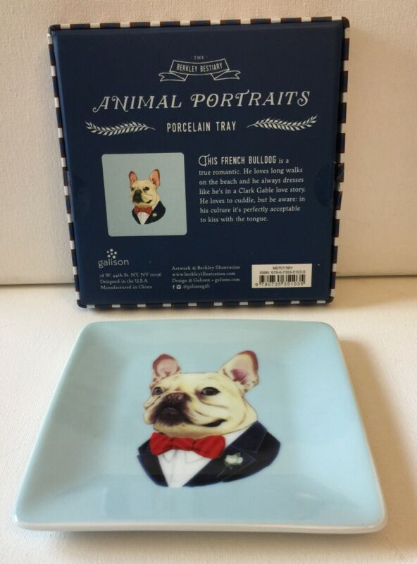 French Bulldog Porcelain Tray For Trinkets