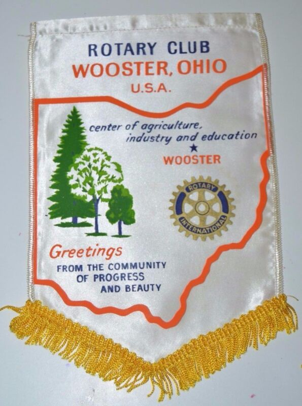 RARE Vintage Wooster Ohio Rotary International Club Wall Hanging Banner Flag