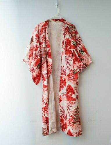 Japanese Small Pagoda Print Kimono Robe White Pink Floral Mountain Made Japan