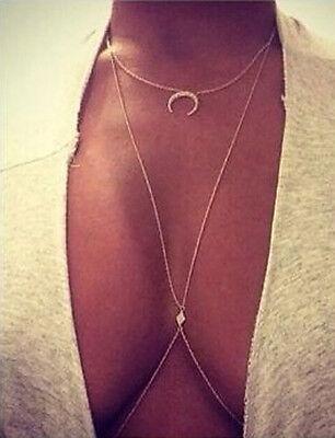 Sexy Body Chain - Sexy Ladies Belly Waist Cross Body Harness Chain Necklace Bikini Body Jewelry PR