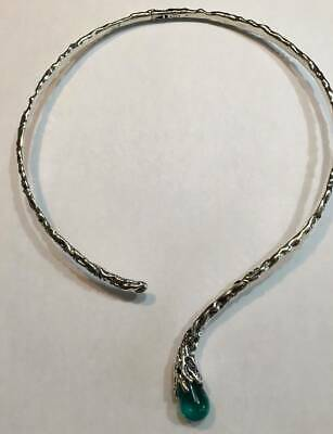 KALOS by Hagit Gorali Sterling Silver Textured Glass Bead Collar Necklace Glass Textured Sterling Silver Necklace