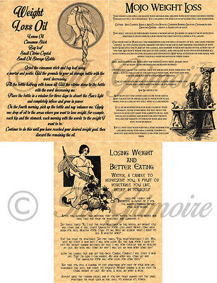 3 Weight Loss Book of Shadows Spell Pages, Wicca, Witchcraft, Wiccan, BOS