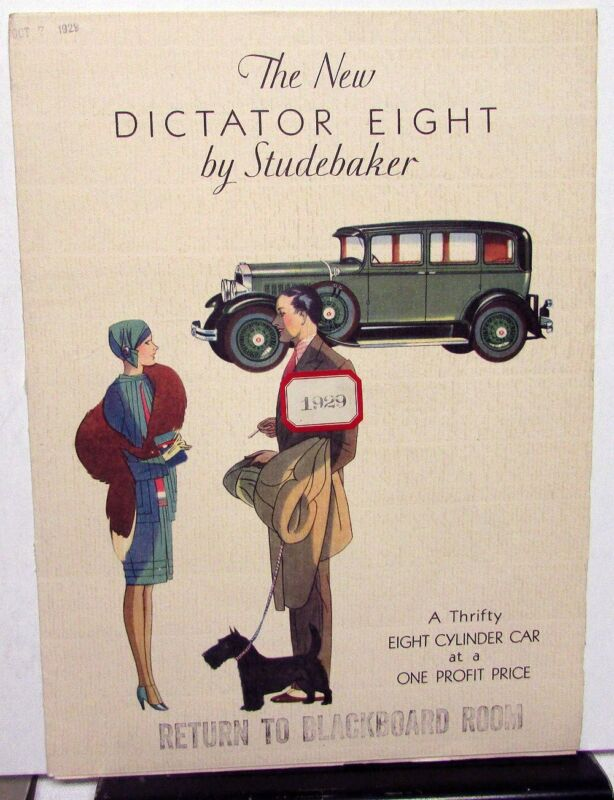 1929 Studebaker Dictator Eight Color Sales Brochure Original