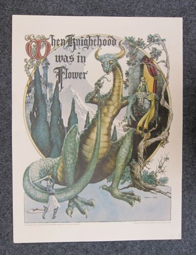 """1975 GEORGE BARR """"WHEN KNIGHTHOOD WAS IN FLOWER POSTER **17 x 22** **ORIGINAL**"""