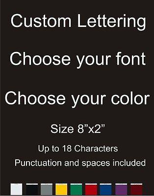 "Custom Text Personalized Lettering Vinyl car Window Laptop Decal Sticker 2""x8"""