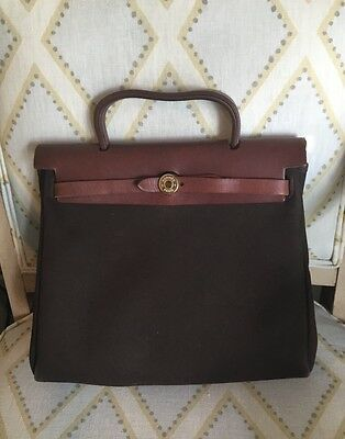 e319e429cc61 Hermes Brown Black Canvas Leather Toile 2 in 1 Shoulder Herbag Handbag