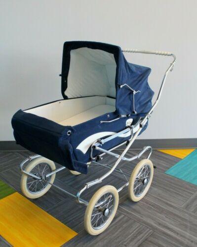 Antique Vintage Perego Italian Navy Blue Baby Carriage Stroller